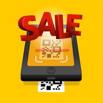 Qr-code zum mobilen online-shopping-shopping scannen