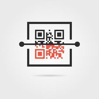 Qr-scan-symbol mit schatten. konzept der kodierung, matrix, e-commerce, software, zugang, marketing, scannen. auf grauem hintergrund isoliert. flacher stil trend moderne logo-design-vektor-illustration