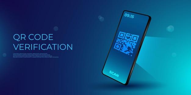 Qr verifizierungskonzept. mobiltelefon mit scanner liest den qr-code. maschinenlesbarer barcode auf dem smartphone-bildschirm.
