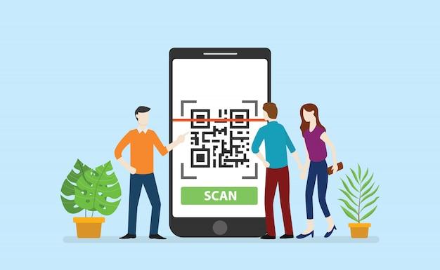 Qrcode-technologie-scan mit mitarbeitern des office-teams umkreisen große smartphone-apps