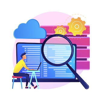 Qs-tester. entwicklungskit. binärcode analysieren. enge inspektion, codierung, überprüfung des offenen skripts. website-verwaltung. qualität erneut bestätigen. isolierte konzeptmetapherillustration.