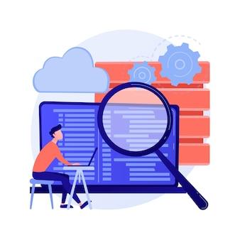 Qs-tester. entwicklungskit. binärcode analysieren. enge inspektion, codierung, überprüfung des offenen skripts. website-verwaltung. qualität erneut bestätigen. vektor isolierte konzeptmetapherillustration.