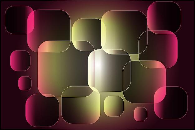 Quadrate mit ausgebrannten rot-grünen ecken auf abstraktem hintergrund.
