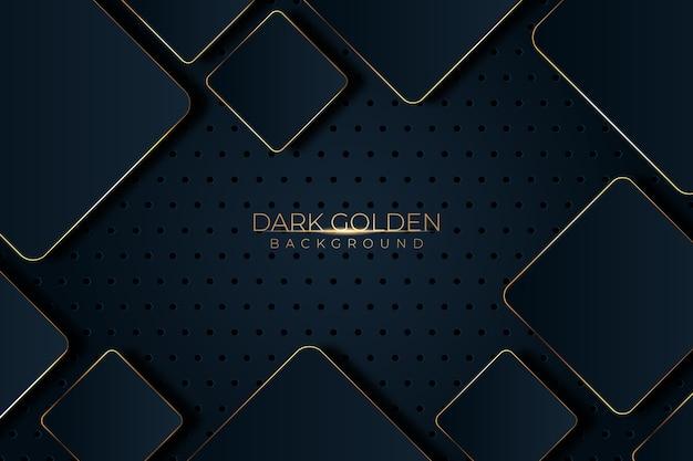 Quadrate mit schwarzem schatten und goldenem detailhintergrund