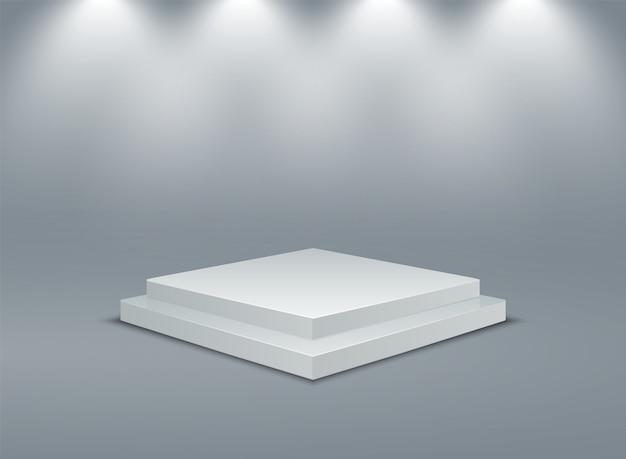Quadratisch beleuchtetes podium