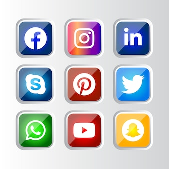Quadratisch glänzender silberner rahmen social media icons button mit verlaufseffekt für die online-nutzung der ux-benutzeroberfläche