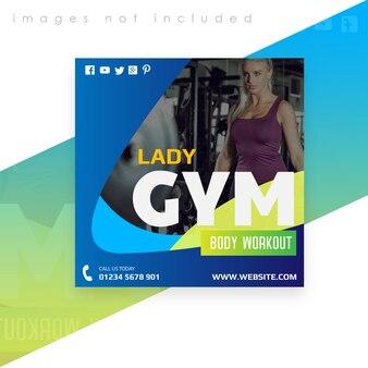 Quadratische banner- oder flyer-vorlage. fitnessstudio körpertraining