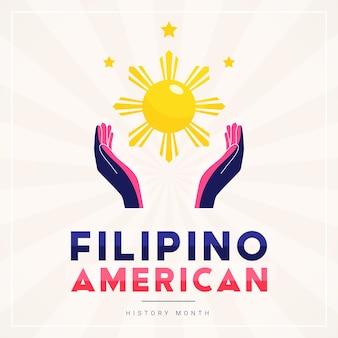 Quadratische bannerschablone des philippinischen amerikanischen geschichtsmonats mit von sonne und sternen beleuchteten händen als symbol für die beiträge der philippinischen amerikaner zur weltkultur.