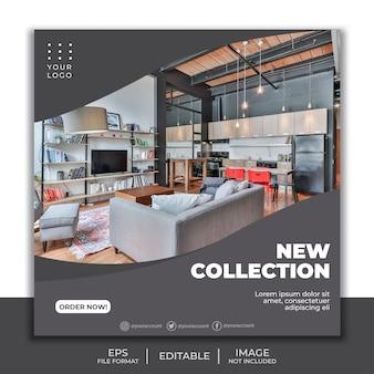 Quadratische bannerschablone für instagram, möbelinnendekoration elegantes wohnzimmer