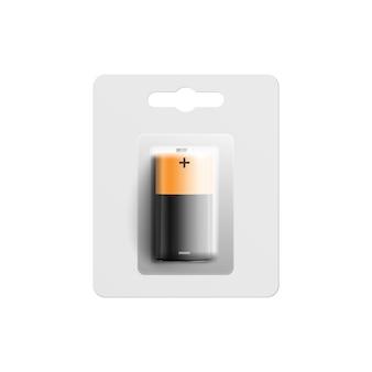 Quadratische batterie in der plastikverpackungsillustration