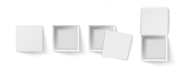 Quadratische box draufsicht. leeres paket, geschenkboxen aus weißem papier und realistischer 3d-illustrationssatz für pizzaverpackungen. offene und geschlossene paketbehälter, sammlung von cliparts für kartonverpackungen
