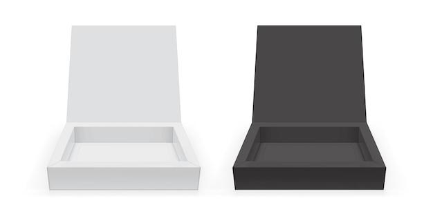 Quadratische box isoliert auf weißem hintergrund vektor-mock-up Premium Vektoren