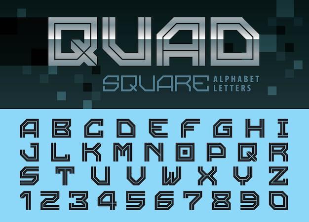 Quadratische buchstaben und zahlen