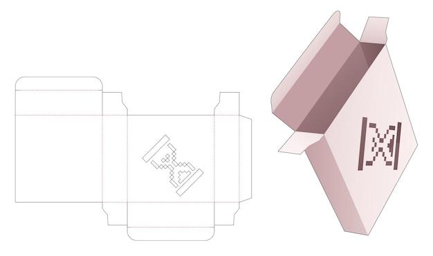 Quadratische dose aus zinn mit schablonierter sanduhr in gestanzter vorlage im pixel-art-stil