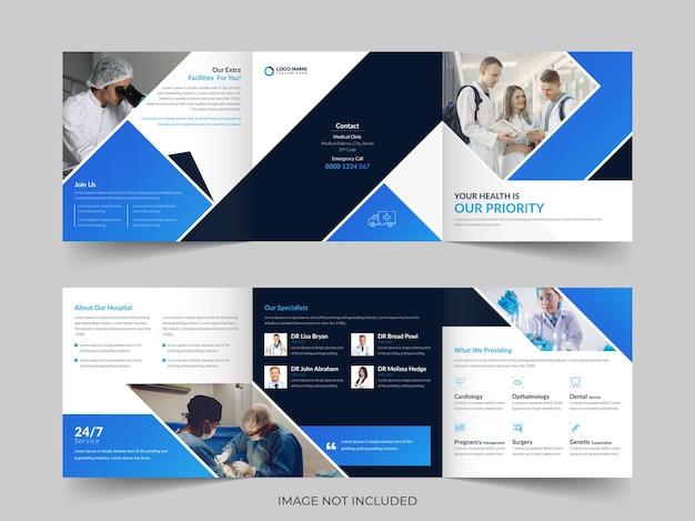 Quadratische dreifach gefaltete broschüre für medizin oder gesundheit