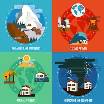 Quadratische fahne der flachen ikonen der naturkatastrophe 4 mit seismischen aktivitätshurrikanen und -tornados