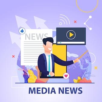 Quadratische fahnen-mediennachrichten auf blauem hintergrund und lächelndem mann im anzug