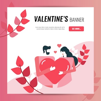 Quadratische fahnenschablone des valentinstags für website