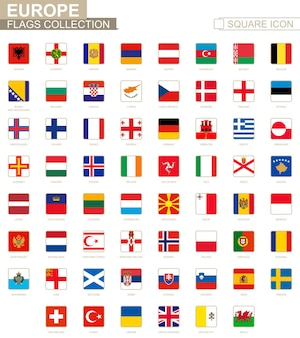 Quadratische flaggen europas. von albanien bis wales. vektor-illustration.