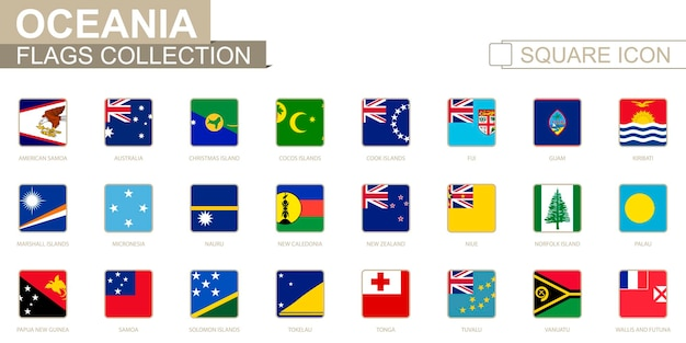 Quadratische flaggen von ozeanien. von amerikanisch-samoa bis wallis und futuna. vektor-illustration.