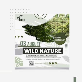Quadratische flyer-schablone der wilden natur