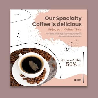 Quadratische flyer-schablone des kaffeespeichers