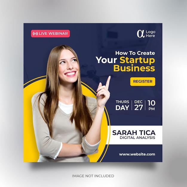 Quadratische flyer-vorlage der geschäftskonferenz social media banner