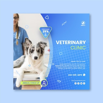 Quadratische flyer-vorlage der veterinärklinik