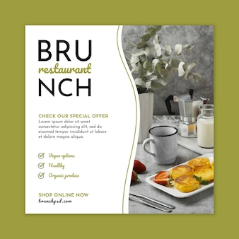 Quadratische flyer-vorlage des brunch-restaurants