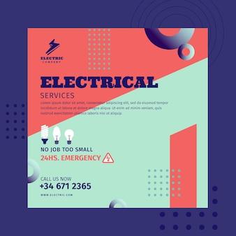 Quadratische flyer-vorlage des elektrikers