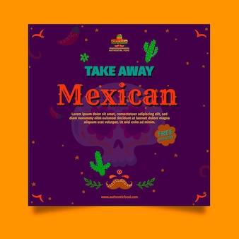 Quadratische flyer-vorlage des mexikanischen essensrestaurants