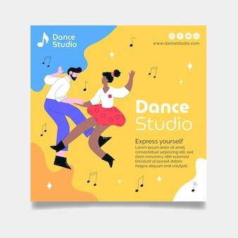 Quadratische flyer-vorlage des tanzstudios