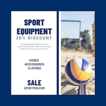 Quadratische flyer-vorlage für beachvolleyball