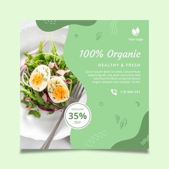 Quadratische flyer-vorlage für bio- und gesunde lebensmittel