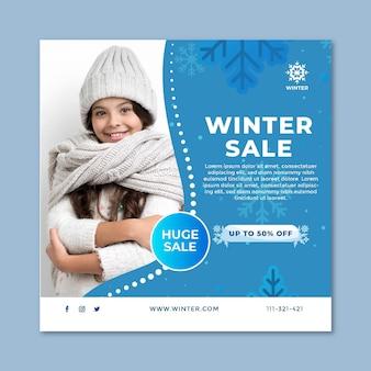 Quadratische flyer-vorlage für den winterverkauf
