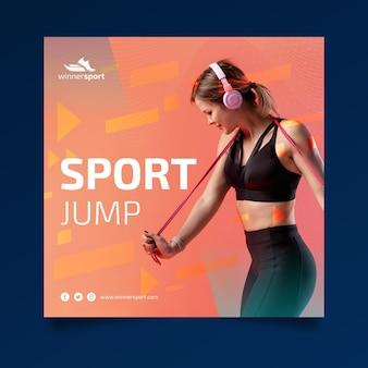 Quadratische flyer-vorlage für fitness im fitnessstudio