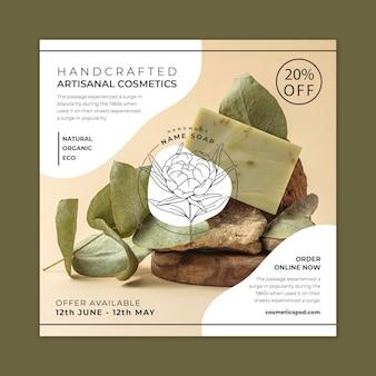 Quadratische flyer-vorlage für handwerkliche kosmetik