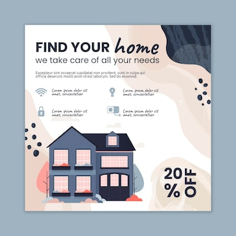 Quadratische flyer-vorlage für immobilien
