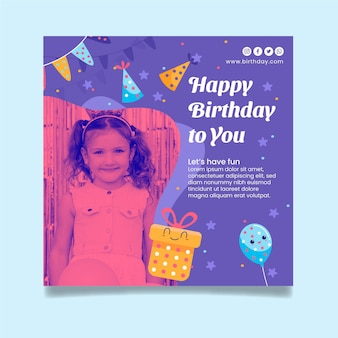 Quadratische flyer-vorlage für kindergeburtstag