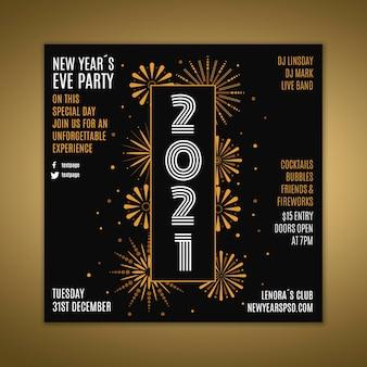 Quadratische flyer-vorlage für neujahrsparty