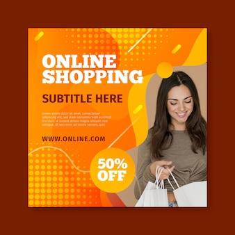 Quadratische flyer-vorlage für online-einkäufe