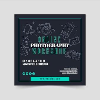 Quadratische flyer-vorlage für online-fotografie