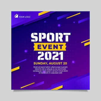 Quadratische flyer-vorlage für sportveranstaltungen mit farbverlauf