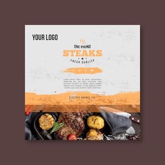 Quadratische flyer-vorlage für steak und kartoffeln