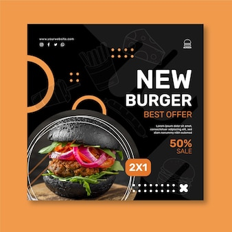Quadratische flyervorlage für burger-restaurants