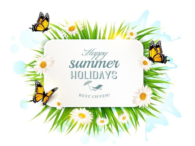 Quadratische fröhliche sommerferienfahne mit gras, schmetterlingen und gänseblümchen.