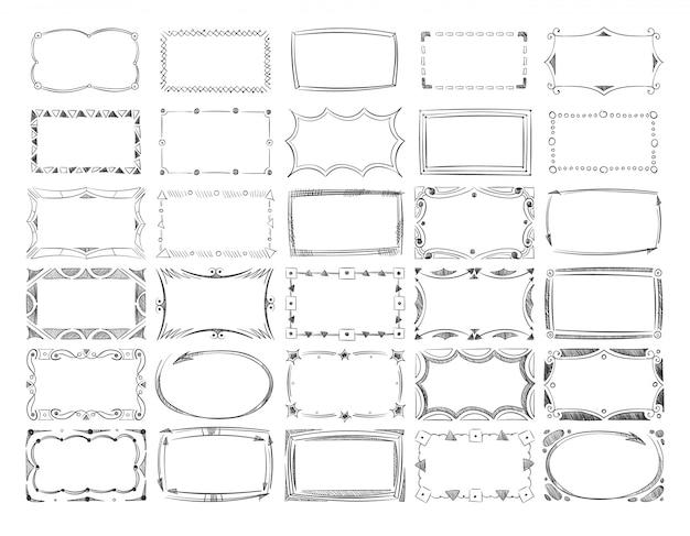Quadratische gekritzelbilderrahmen