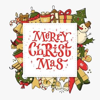 Quadratische grußkarte der frohen weihnachten mit gekritzel