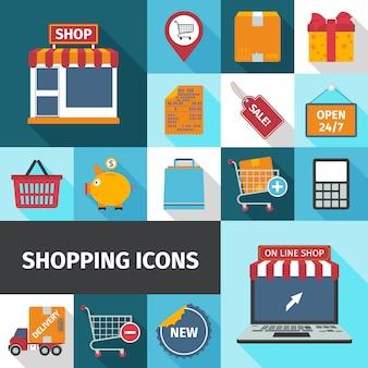Quadratische ikonen des einkaufens eingestellt
