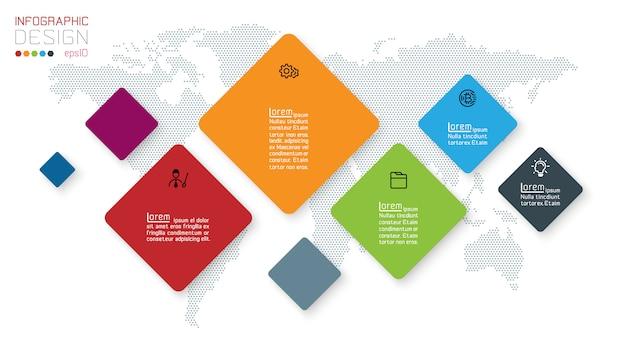 Quadratische infografiken auf abstraktem hintergrund